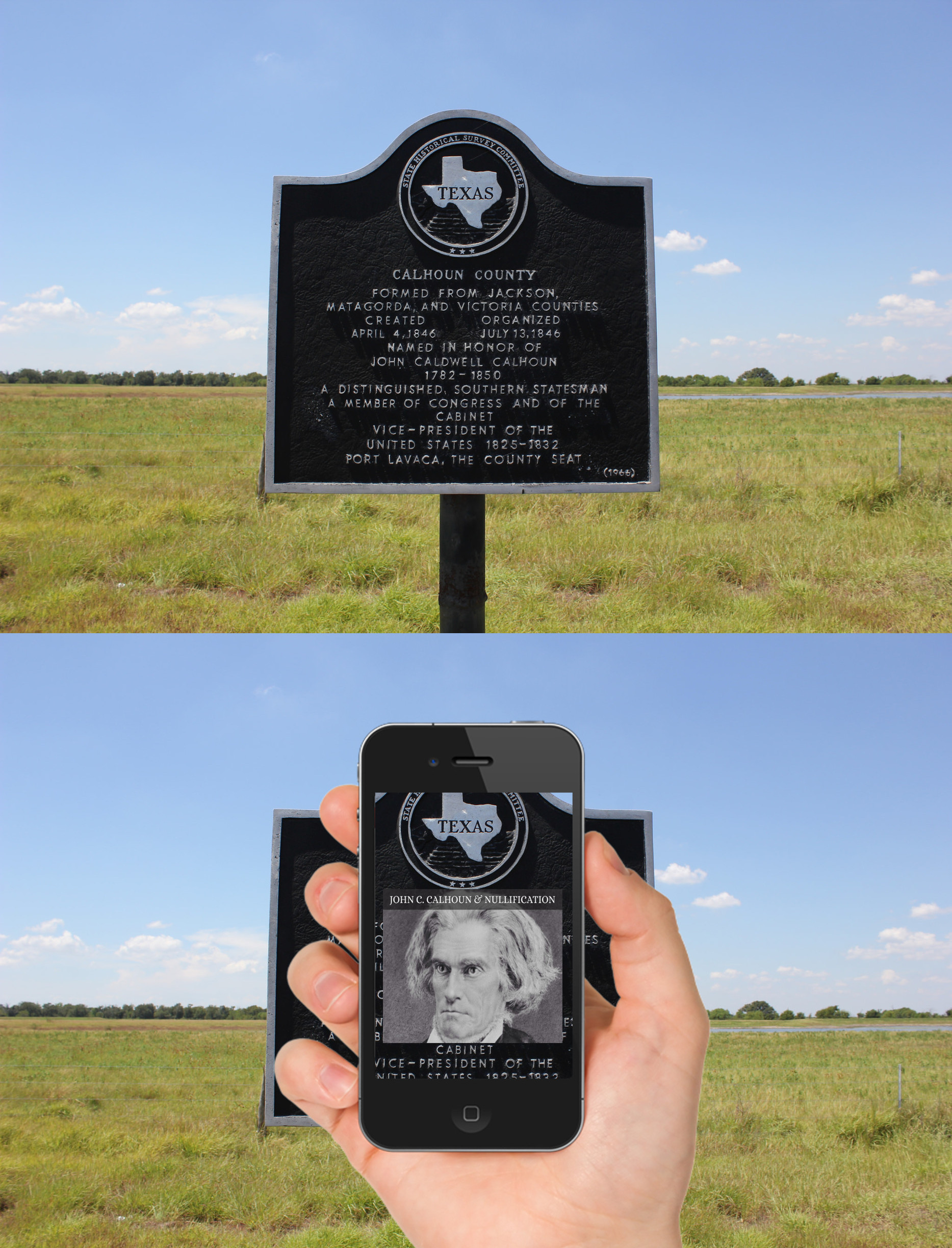 Augmented reality can be used to overlay digital information onto existing texts such as historical markers. This modified image is based on a photograph by Nicholas Henderson.