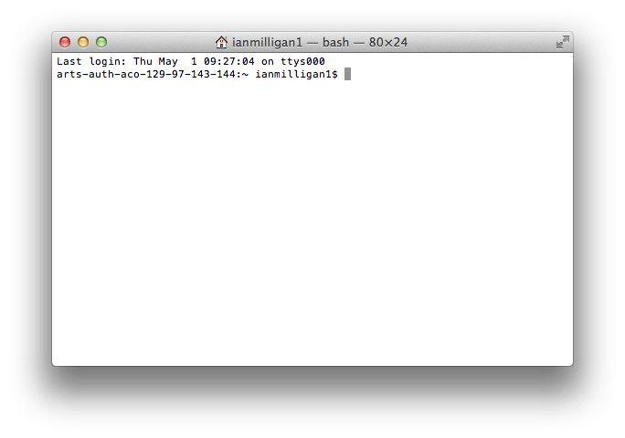 A blank terminal screen on our OS X workstation