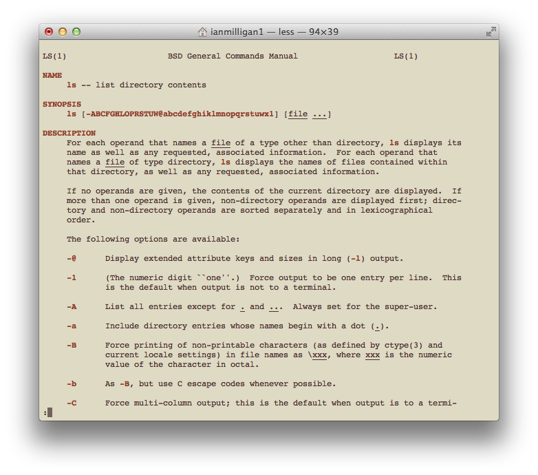 The Manual page for the LS command
