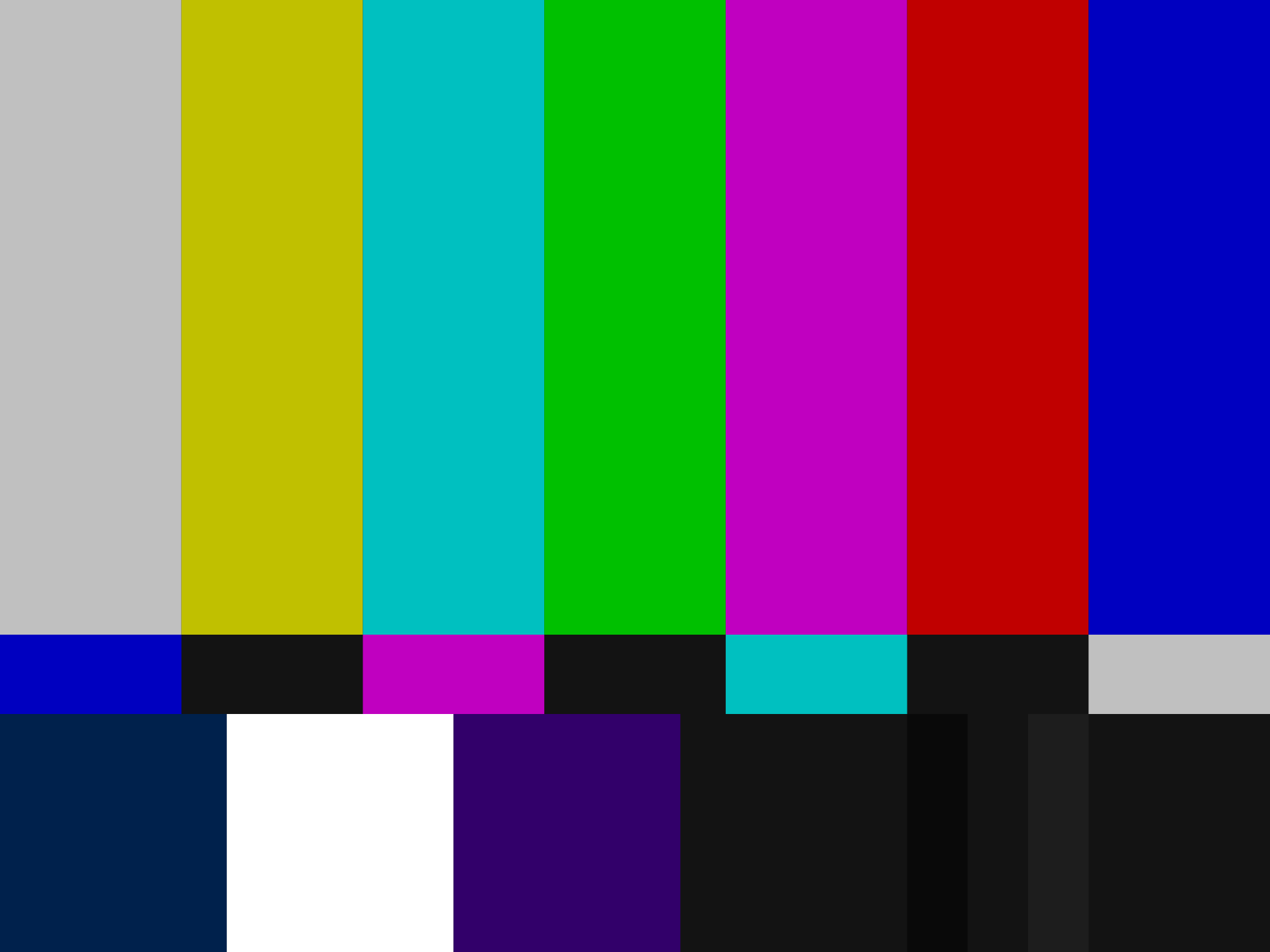 NTSC SMPTE Bars. Source: Wikimedia Commons