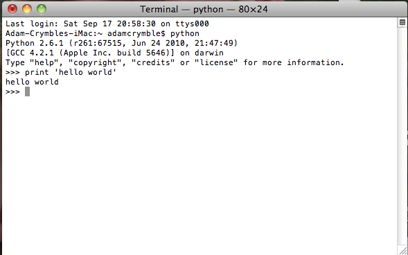 hello world terminal on a Mac