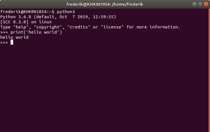 hello world in Terminal on Linux