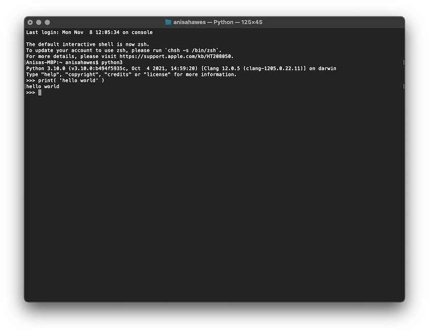 Python Shell in Mac Terminal