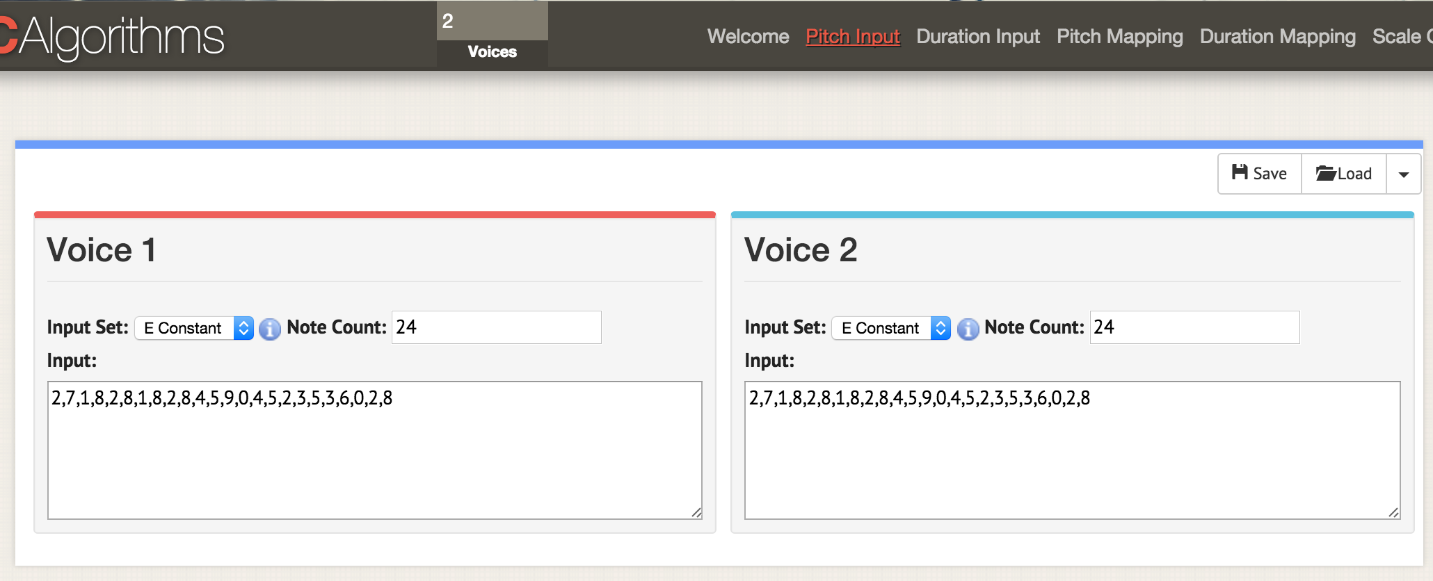 Put 2 into the voices box at the top of the interface. When you then go to any of the option pages - here, we're at 'pitch input' - two displays open up to show you the data for two voices. Load your csv data as before, but have your csv formatted to have 'areaPitch1' and 'areaPitch2' as described in the main text. The data for voice one will appear on the left, and for voice two on the right.