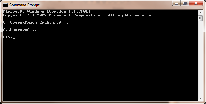 Figure 5: Navigating to the C:\ Directory in Command Prompt