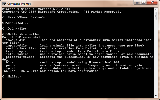 Figure 6: Command Prompt MALLET Installed