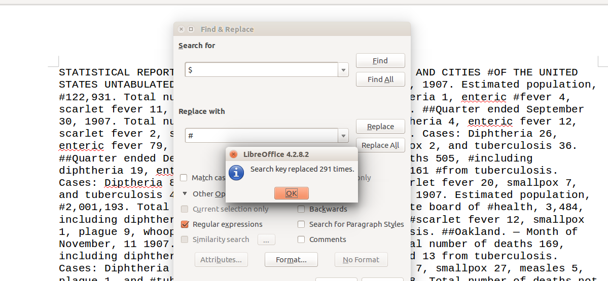Figure 3: The 'More Options' tab in Open Office Find & Replace