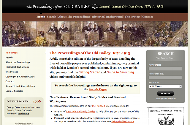 The Old Bailey Online Homepage